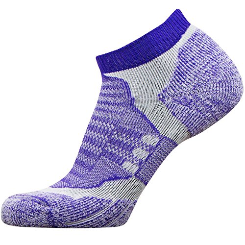 No-Show Wool Running Socks – Ultra-Light Merino Wool Athletic Socks, Trail Socks (Purple, Small)