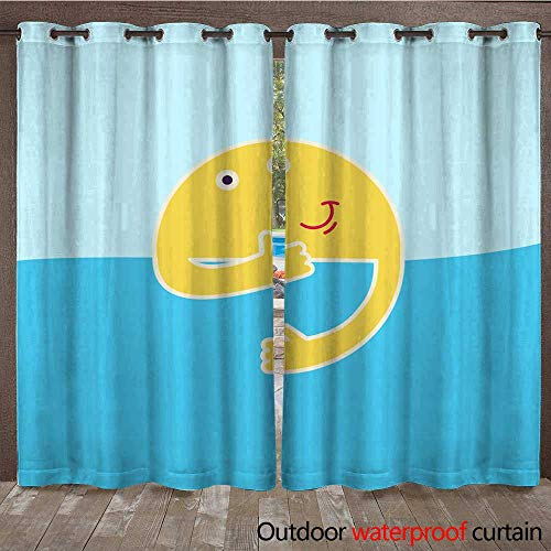 RenteriaDecor Outdoor Ultraviolet Protective Curtains Good Morning Rising Sun with Smile and Thumb up Behind River Shows Thumb up Sky River Smiling Sun and Little Ship or boa W84 x L108