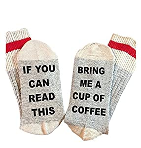 IF You Can Read This Bring Me a Cup of Coffee Funky Crew Socks for Women