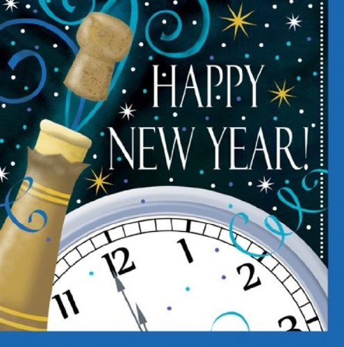 18-Count Paper Lunch Napkins, New Years Champagne Swirl - New Years Countdown Clock