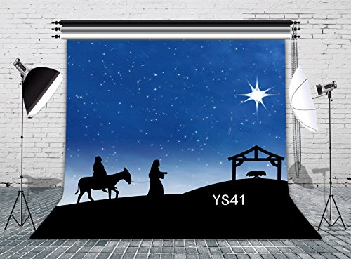 LB 8x8ft Poly Fabric Christmas Photography Backdrops Customized Christmas Manger Scene Nativity Story Photo Studio Background Props (Nativity Scene Background)