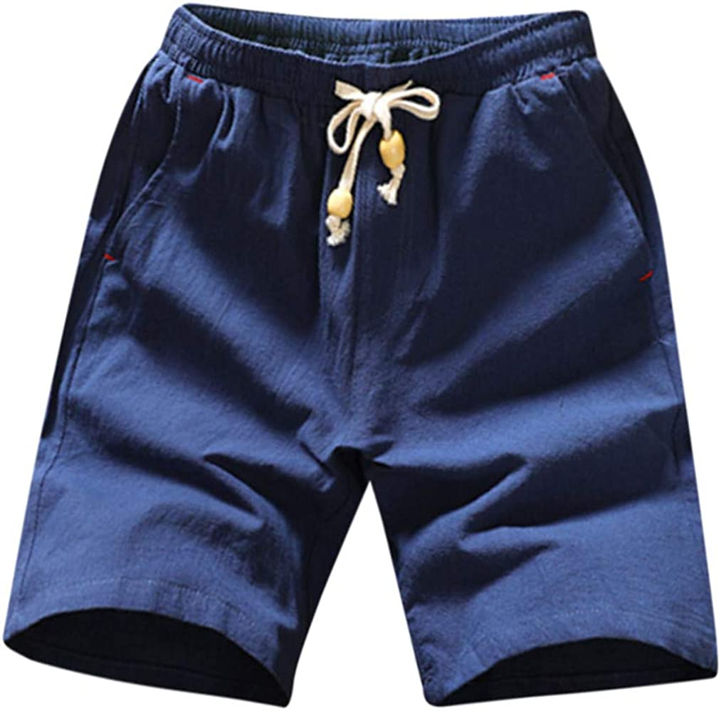 PARVAL Pantalón Corto para Hombre Algodón Lino Bermudas Pantalones ...