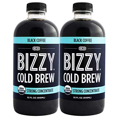 Bizzy Cold Brew Coffee Concentrate - USDA Organic (32 oz Black, 2 Pack)