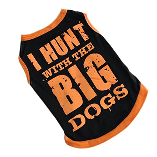 IEason Pet Clothes, Summer Breathable Cozy Dog Clothes Vest T-shirt With BIG Patterned Pet Clothing (S, Orange)