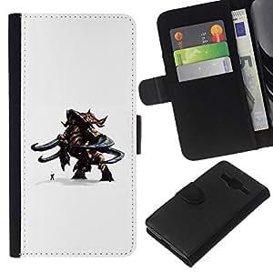 Stuss Case / Funda Carcasa PU de Cuero - Monster magia contra hombre - Samsung Galaxy Core Prime