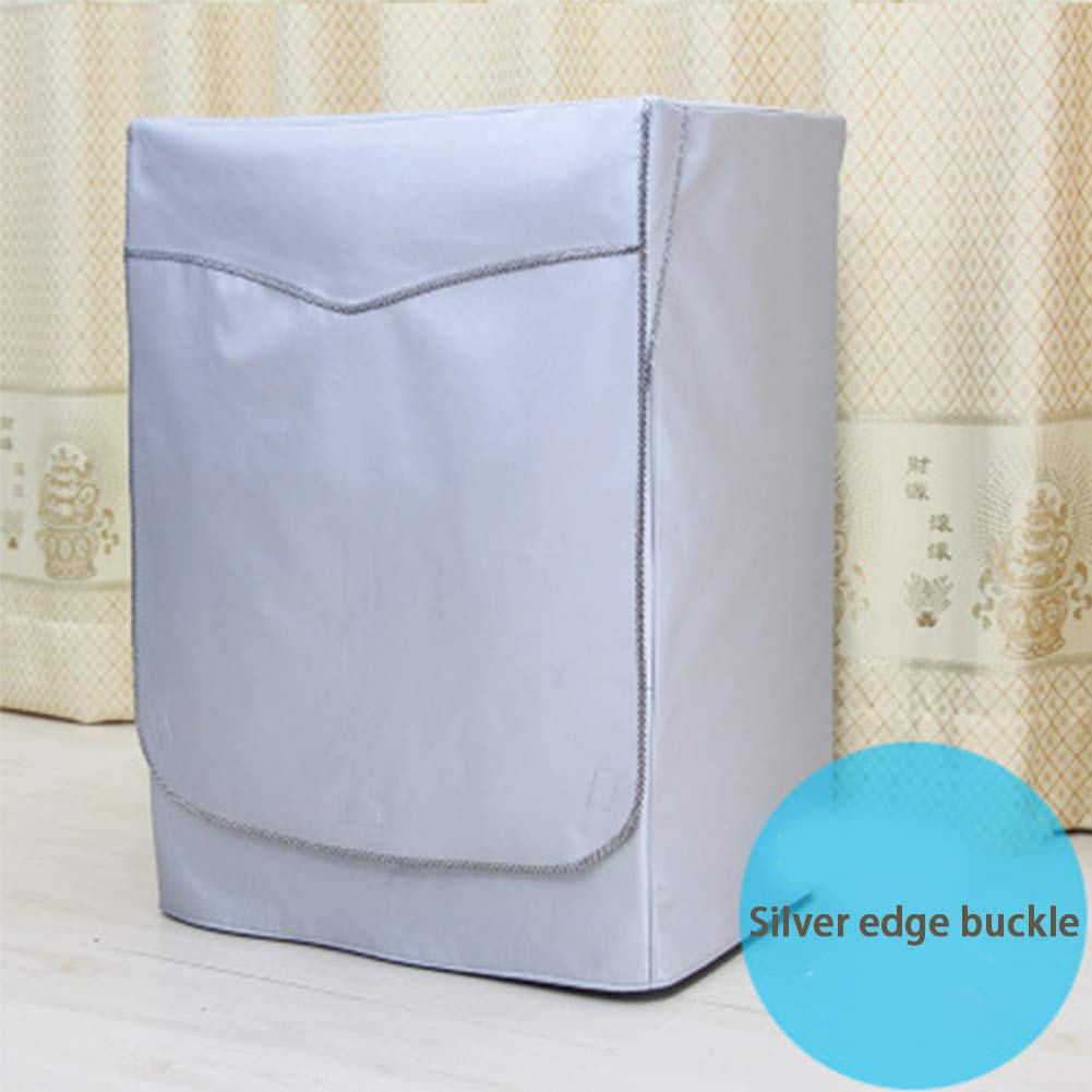 Carole4 Washing Machine Cover, Oxford Cloth Durable Waterproof Anti-Aging Silver Plated Zipper/Buckle Design Washing Machine Covers Protector(S,Silver Edge Thread Gluing)