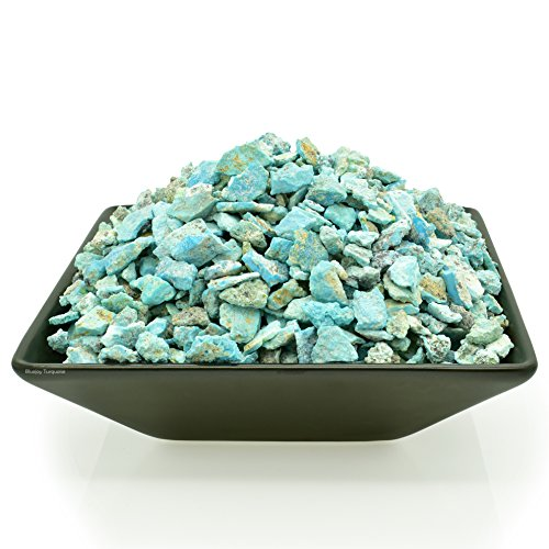 Bluejoy Genuine Pure Natural Sleeping Beauty Turquoise Rough Stone Baby-Size Nuggets for Inlay and Jewelry Design (2-Ounce, Dark-Blue) (Mine Beauty Sleeping)