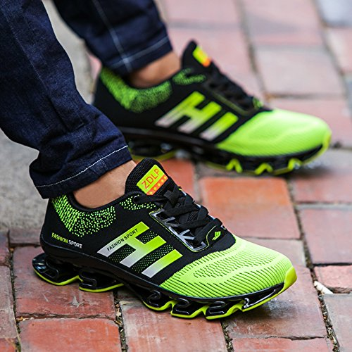 Weishan Black Springblade Jogging Shoes for Mens mesh Breathable Slip on Comfortable Boys Trail Running Shoes Outdoor Travel Shoes Size 10 (656-green-44) by Weishan (Image #6)