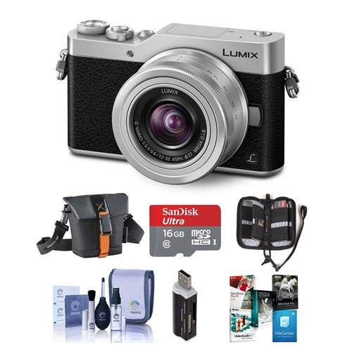 Panasonic Lumix DC-GX850 Mirrorless Digital Camera w/12-32mm Mega O.I.S. Lens, Silver - Bundle with Holster Case, 16GB MicroSDHC Card, Cleaning Kit, Memory Wallet, Card Reader, Software Package