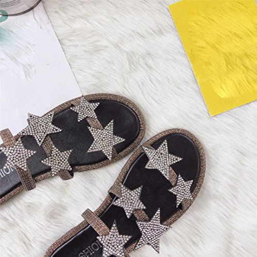 Tefamore Women Diamond Sand Beach Flat Slippers Platform Wedge Shoes hA5qYvhFc
