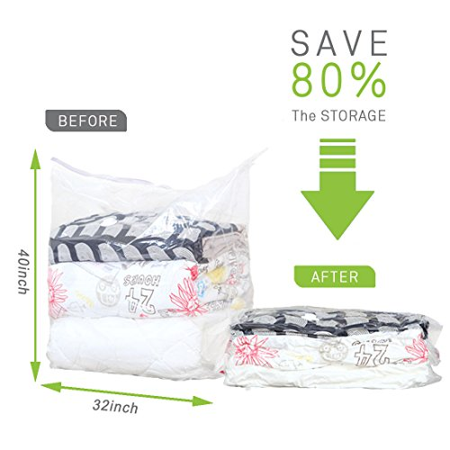 Vacuum Storage Bags Jumbo Clear Space Saver Bags Use Premium Eco Materials with Free Hand Pump for Compression, Perfect for Travel and Home Storage by Yero