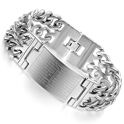 Flongo Men's Biker Stainless Steel Silver Cross English Bible Lords Prayer Link Wrist Bracelet, 9.1 inch
