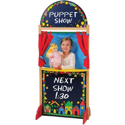 Kid-Sized Hardwood Puppet Theater with Chalkboard