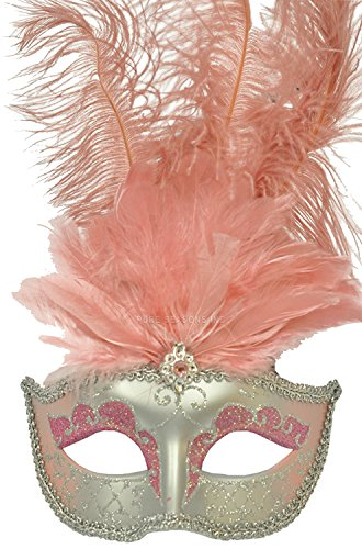 Venetian Feather Mask in Pink and Silver Finish