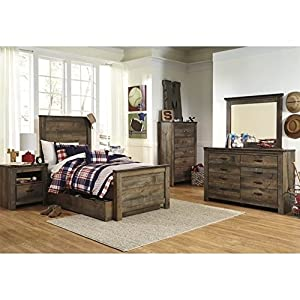 Ashley Furniture Trinell 7 Piece Wood Twin Panel Bedroom Set in Brown