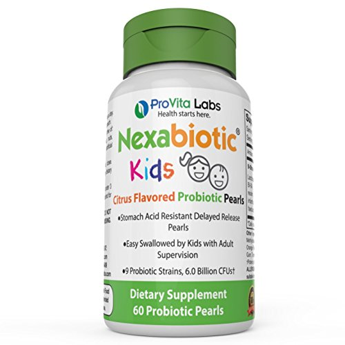 Nexabiotic Kids Chewable Probiotics for Kids in Easy-to-swallow Probiotic Pearls with 9 Strains including Bifidobacterium infantis