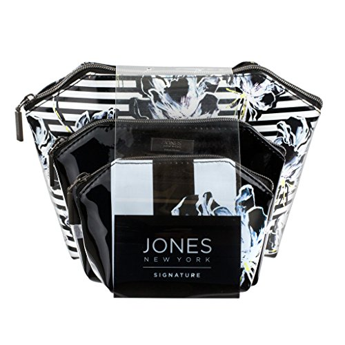 jones-new-york-set-of-3-dome-cosmetic-cases-black-and-white-floral