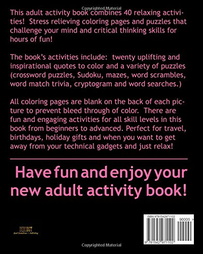 Amazon Com Adult Activity Book Inspirational Quotes Coloring And