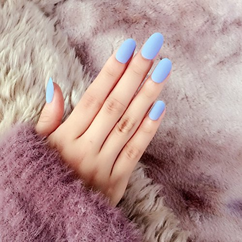 Amazon.com : 24pcs Matte Sky Blue False Nails Kit Lady Daily Wear Fake Nail Tips Round Top Medium Z261 : Beauty