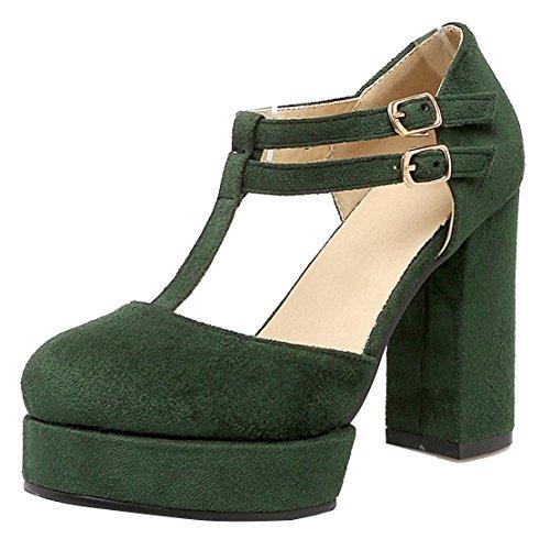 AIYOUMEI Damen T-spangen Knöchelriemchen Pumps mit Plateau und Schnalle Blockabsatz High Heel Bequem Schuhe Grün