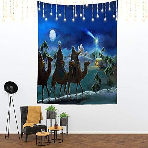 Shrahala Jesus Tapestry, Christmas Nativity Scene Bethlehem Star Wise Men Bible Wall Hanging Large Tapestry Psychedelic Tapestry Decorations Bedroom Living Room Dorm 82.7 x 59.1 Inches, Orange Camel