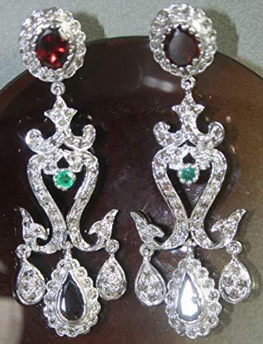 costozon vintage earrings 20.35 Tcw Emerald, Rhodolite Rose Cut Diamond 925 Sterling Silver vintage art deco jewelry