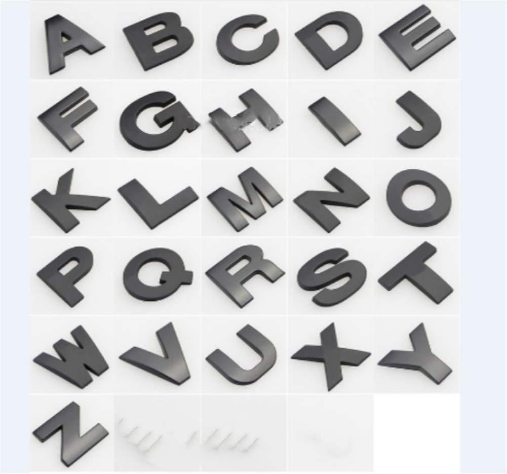 Argent, 3 Fully 1 X 2,5 cm DIY Lettres Alphabet Chiffre Symbole Charm 3D M/étal Auto-embl/ème de Voiture Autocollant
