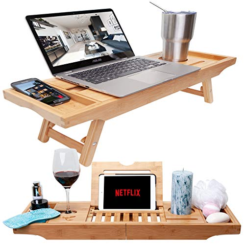(Bamboo Bathtub Tray & Bed Laptop Desk with Foldable Legs, Latest Unique Zen Design Bathtub Caddy, Top Quality Bamboo Bathtub Caddy Tray with Adjustable Legs, Wine Glass & iPad Holder by Bambooware)