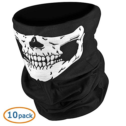 WOVTE Black Seamless Skull Face Tube Mask Pack of 10