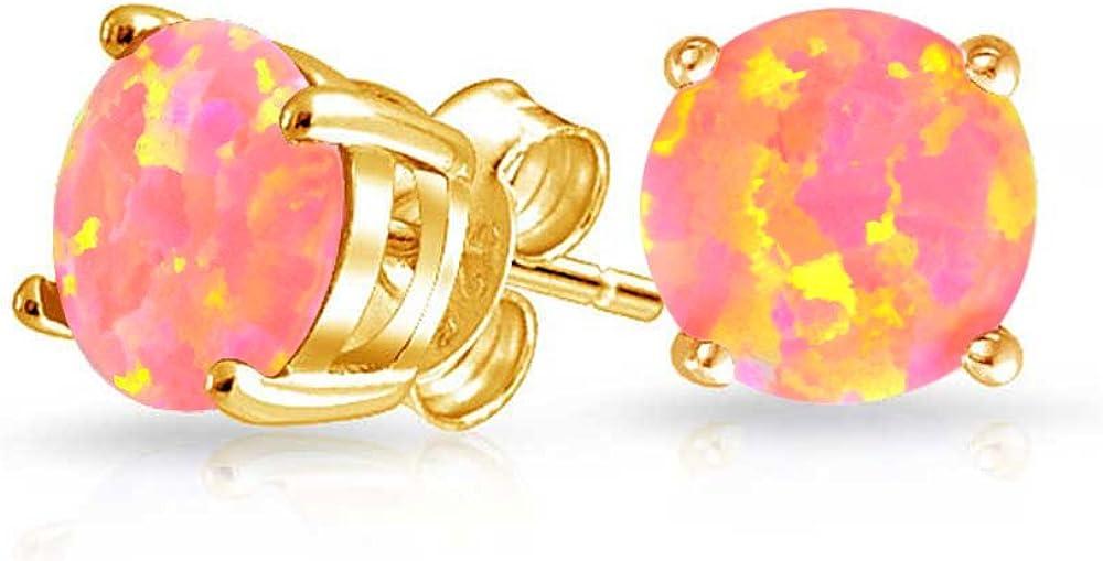 Oro Rosa Creado Opal Solitario Canasta Redonda Pendiente Boton Juego 14K Chapado Oro Plata Octubre Piedra Nacimiento