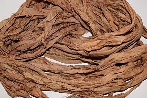 Sari Silk Ribbon Yarn Recycled Sari Silk Ribbon Yarn Tan Mix
