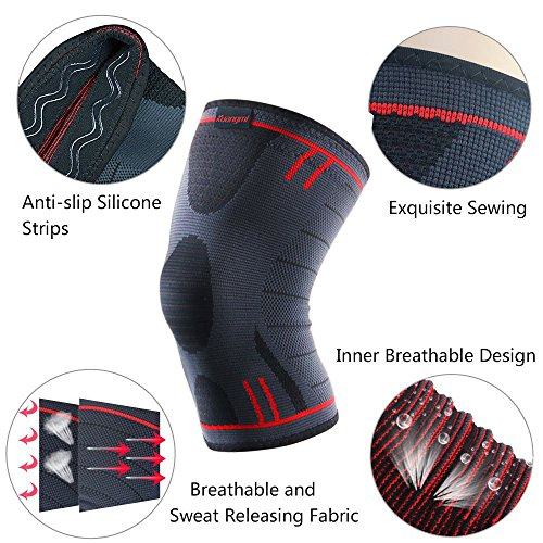5494642ae1 Amazon.com: Kuangmi Knee Compression Sleeve Knee Brace Support for  Running,Basketball,Weightlifting,Joint Pain Relief,Arthritis & Injury  Recovery Single ...