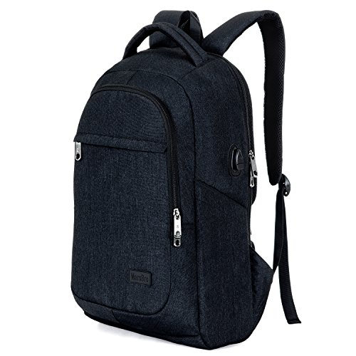 MarsBro Business Travel Water Resistant Polyester 15.6 Inch Laptop Backpack Black