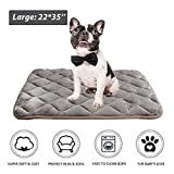Dog Crate Mattress Pad Furrybaby Dog Bed Mat Crate Mat with Anti-Slip Bottom Machine Washable Pet Mattress for Dog Sleeping (M 34x21'', Sliver Grey Mat)