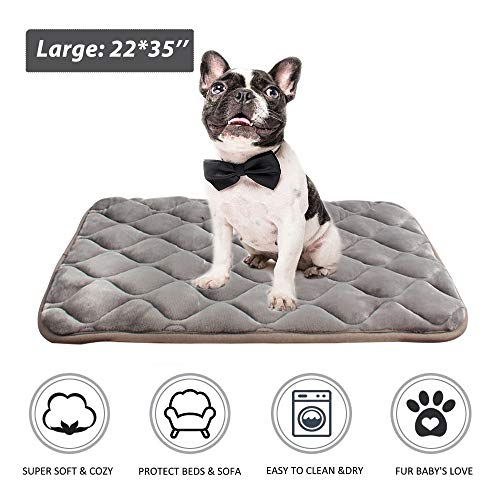 furrybaby Dog Bed Mat Crate Mat with Anti-Slip Bottom Machine Washable Pet Mattress for Dog Sleeping (M 34x21'', Sliver Grey Mat)
