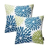 Phantoscope Set of 2 New Living Series Decorative Dahlia Blue and Green Throw Pillow Case Cushion Cover 18