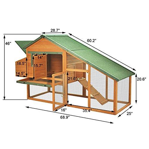 Pawhut 88 Wooden Backyard Slant Roof Hen House Chicken