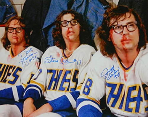 Hanson Brothers Signed Chiefs 'Slap Shot' Bloody Faces 16x20 Photo