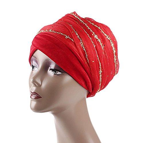 DongDong♫Women's Muslim Stretch Sequin Turban Velvet India Africa Gauze Hair Head Scarf Cap Wrap Hat -