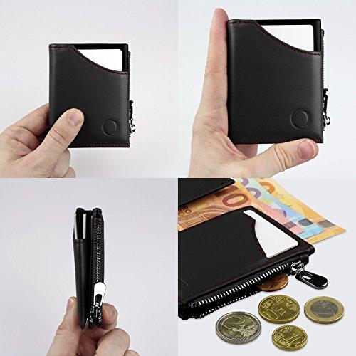 951faa7309 Portafoglio nero/rosso uomo piccolo intelligente e sottile in vera pelle  con porta carte di credito, portamonete porta tessere, protezione  anti-RFID: ...
