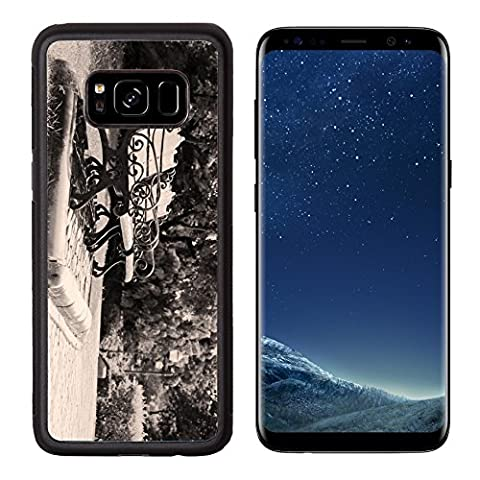 MSD Premium Samsung Galaxy S8 Aluminum Backplate Bumper Snap Case IMAGE ID: 34972564 two vintage bench surrounded by trees in the (Duplicate Plate)