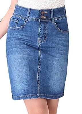 Enlishop Women Blue Retro Distressed High Waist Pencil Denim Jean Midi Skirt