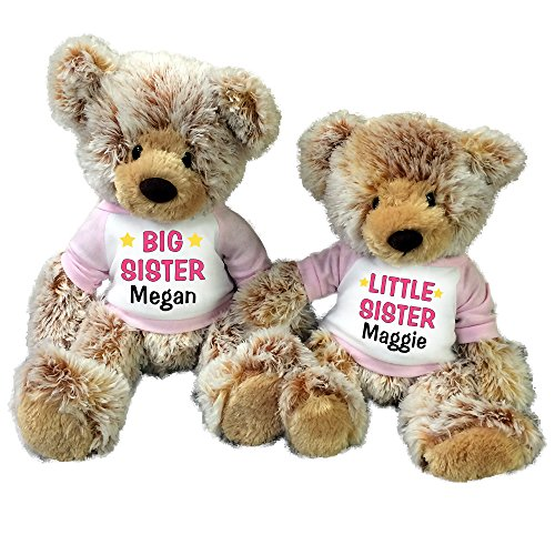 Personalized Big Sister / Little Sister Teddy Bears - Set of 2 Caramel (Big Sister Teddy Bear)