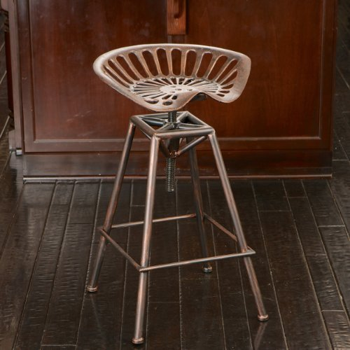 Charlie Industrial Metal Design Tractor Seat Bar Stool (Black Brushed (Tractor Seat Stool)