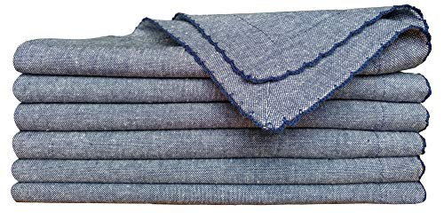 - Cocktail Napkins in Cotton Chambray Picotted -18x18 Navy White,Wedding Napkins,Cloth Napkins,Navy Napkin,Dinner Napkins, metred Corners & Generous Hem,Machine Washable,Cloth Napkins Set of 6