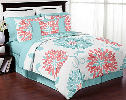 Sweet Jojo Designs 3-Piece Turquoise and Coral Emma Childrens, Teen, Kids Modern Full/Queen Bedding Set Collection