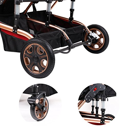 Double Stroller Newborn Infant Side by Side Twin Stroller Anti-shock Pram Pushchair-Red by Movker (Image #6)