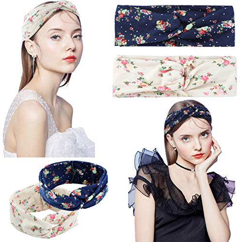 2 Pcs Headbands for Women Boho Floal Style Criss Cross Head Wrap Hair Band (Navy & Beige) ¡­