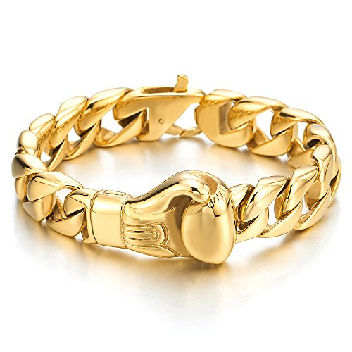 COOLSTEELANDBEYOND Unique Mens Stainless Steel Curb Chain Link Bracelet with Boxing Glove Gold Color Polished