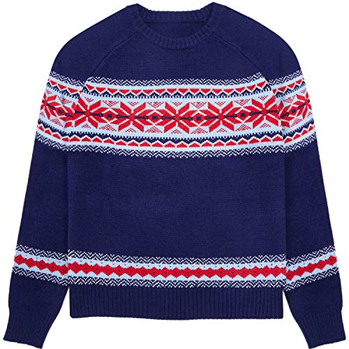 (Blueberry Pet Unisex Holiday Chic Secret Fair Isle Style Pullover Sweater in Navy Blue, X-Large)